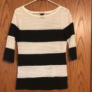 Black and a white 3/4 length sleeve shirt